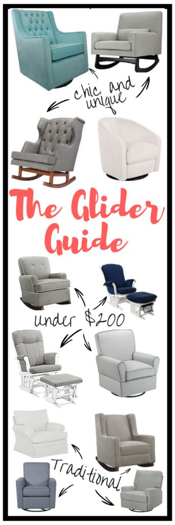 The Ultimate guide to picking out the perfect glider for your baby's nursery! A ton of gliders under $200!