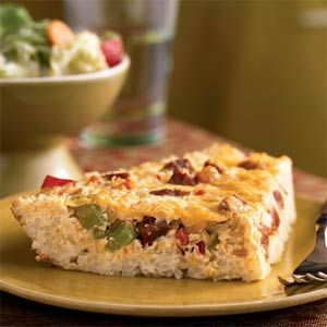 Cajun Quiche in a Rice Crust  If you don't have cooked rice on hand, use boil-in-a-bag rice (such as Success Rice) and follow the microwave directions. Cool the rice slightly before adding egg. Total time: 45 minutes.