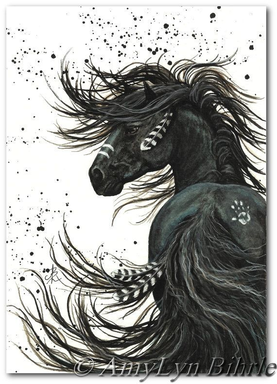 Majestätische Mustang Black Stallion Native American Friesen Pferd Kunst – 11 x…
