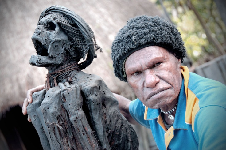 A hundred years old mummy of the Baliem Valley in Papua. The mummy is that of a great chief of a  tribe inhabiting the Baliem Valley which was preserved by their descendants for ritual purposes.