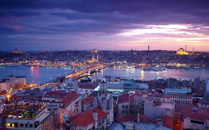 Scarica sfondi Il Ponte di Galata, la sera, la moschea, la Moschea Blu, Istanbul, Turchia
