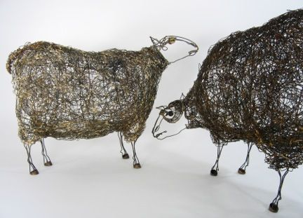 Wire Sheep Sculptures ~Thomas Hill