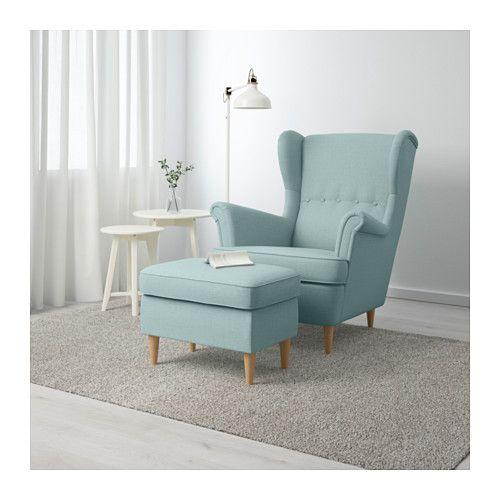 STRANDMON Ottoman - Skiftebo light turquoise - IKEA