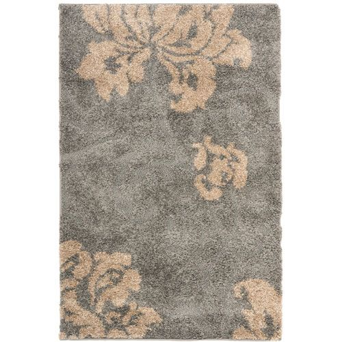 Florida Shag Grey and Beige Rectangle: 3 Ft. 3 In. x 5 Ft. 3 In. Area Rug - (In Rectangular)