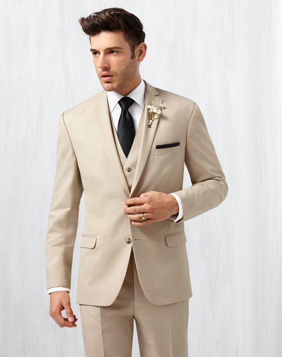 Men's Wearhouse Notch Lapel Tan Suit Champagne, Brown Tuxedo