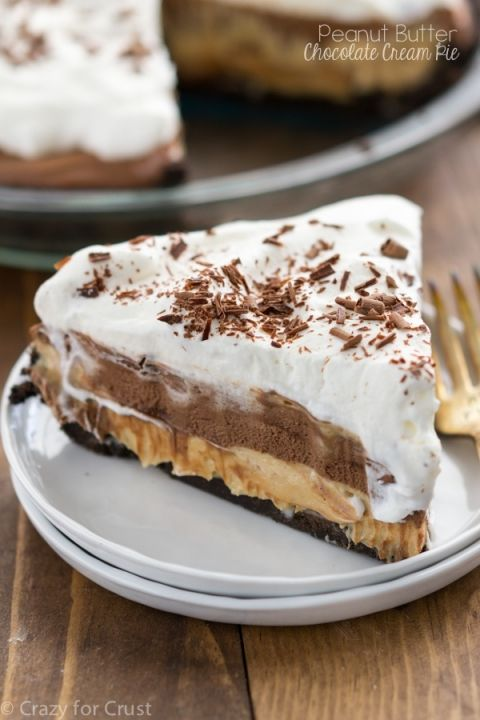Peanut Butter Chocolate Cream Pie with layers of Oreo crust, peanut butter, and chocolate cream! This is the best pie recipe I've ever made!