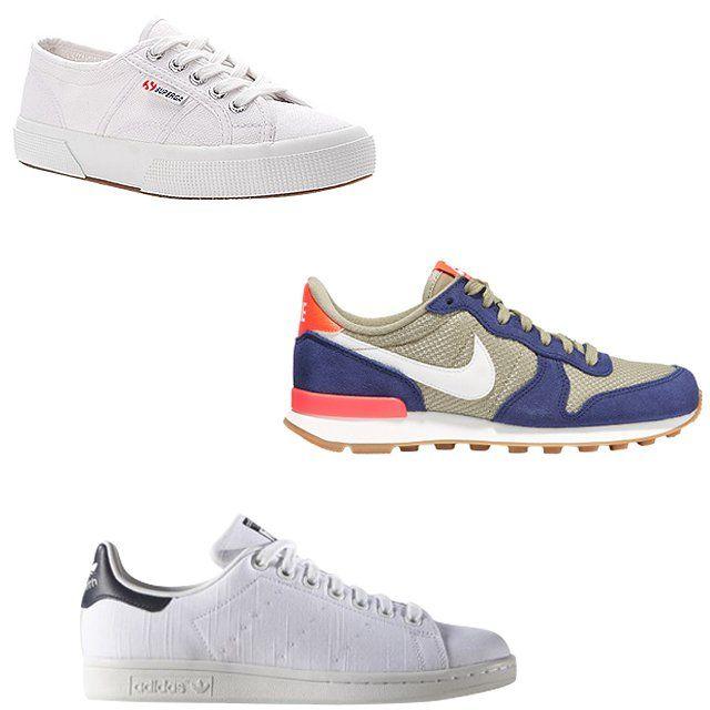Superga Cotu classic lace-up sneakers, $65, shopbop.com; Nike Internationalist suede, leather, and mesh sneakers, $90, net-a-porter.com; Adidas Stan Smith women's originals sneakers, $80, adidas.com
