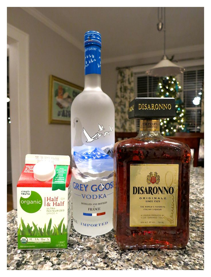 Ingredients for Let it Snowtini...vodka, amaretto, and cream