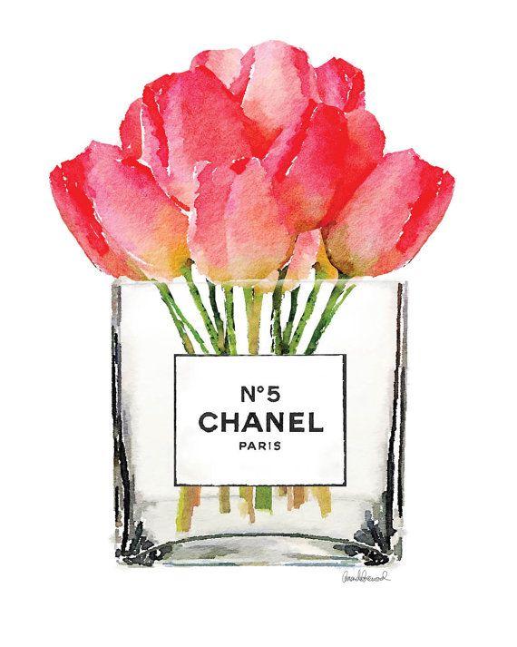 Flor de Chanel acuarela arte tulipanes imprimir por hellomrmoon