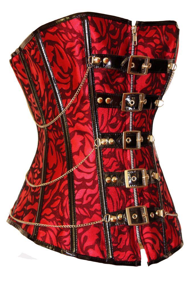 Festive Red Jacquard Corset