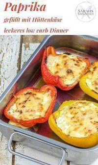 low carb Dinner: gefüllte Paprika mit Hüttenkäse