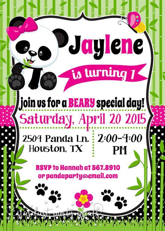 panda birthday invitation panda invitation panda baby