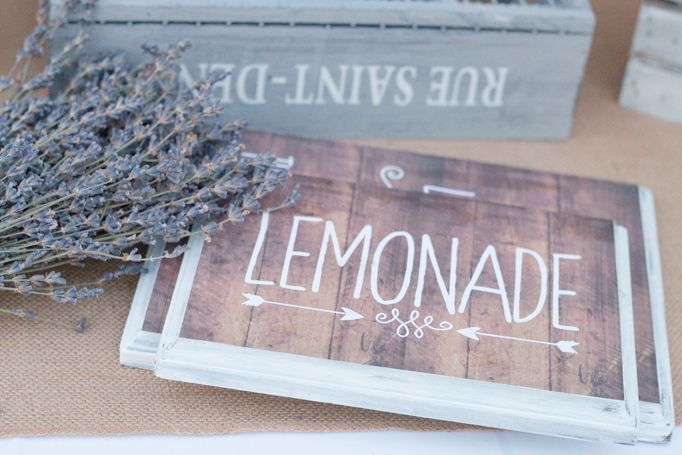 Tangled Inspired 21st Birthday: Rustic Lavender and Yellow. Rustic  lemonade sign with lavender and crates