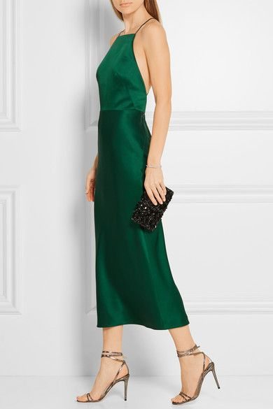 Emerald crepe de chine Concealed hook and zip fastening at back 70% acetate, 30% viscose; lining: 100% silk Dry clean Designer color: Jade