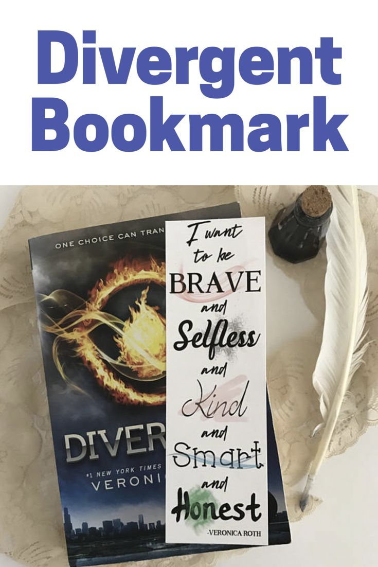 """I want to be brave, and selfless, and kind, and smart, and honest."" -Veronica Roth Signature quote bookmark inspired by Veronica Roth's bestselling series, Divergent. #affiliate #bookmark"