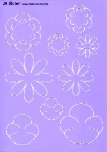 """Design-Schablone Nr. 29 """"Blüten"""", Din A4   Design-Schablonen   Grußkartengestaltung   Bastelbedarf   Ideen mit Herz"""