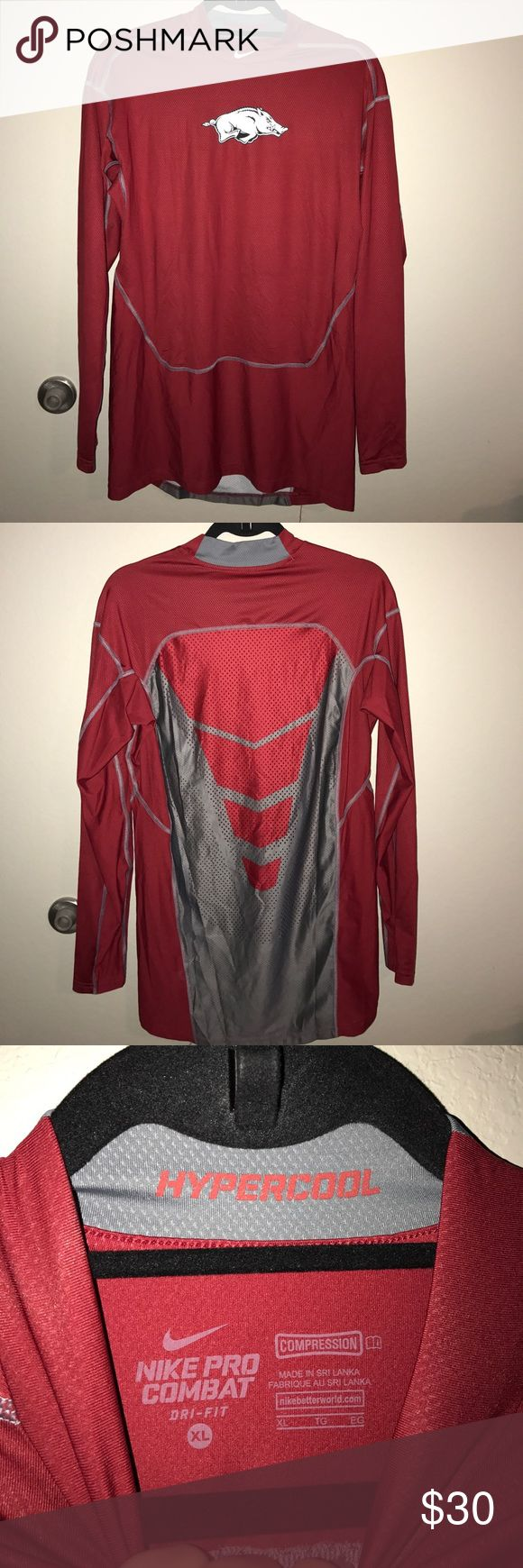 Razorback red Nike hypercool pro combat NEVER WORN. Razorback XL red Nike hypercool pro combat Nike Shirts Tees - Long Sleeve