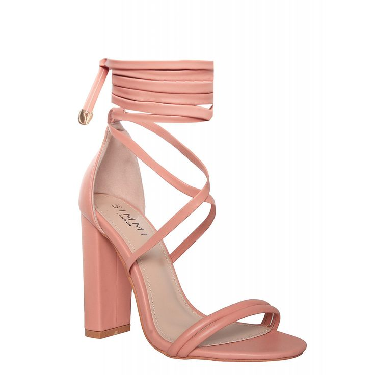 Neela Blush Lace Up Block Heels