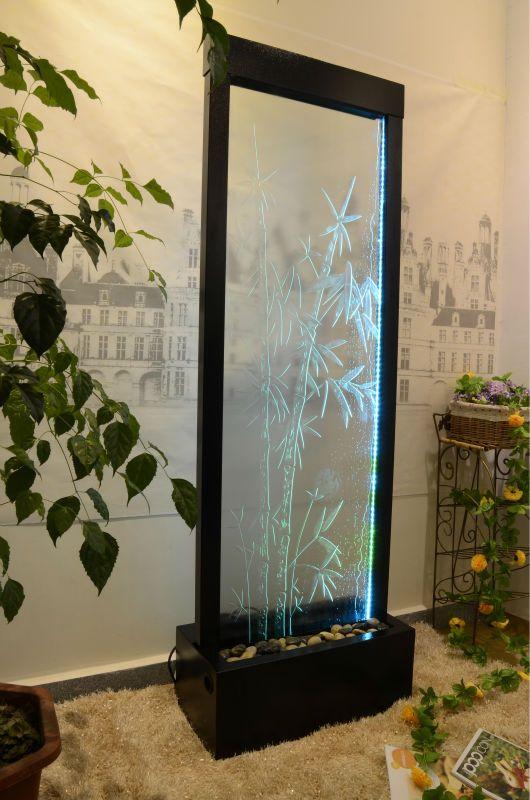 De vidro do chão divisor de quarto gráfico cachoeira com iluminação led
