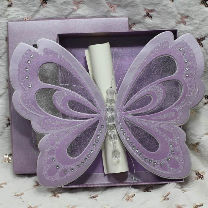 box wedding invitations online%0A Purple Elegant Butterfly Wedding Invitations with Blank Scroll Cards Paper  Box Christening Invites     Sets