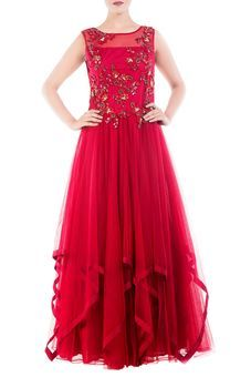 Burgundy Golden Sequins Flare Gown by Anju Agarwal, Ethnic Gowns #bridesmaid #wedding #fusion #ethnic #western #bffswedding #bff #ethnicwear #gown