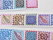 11 handbedruckte, kleine Aufkleber I Briefmarken