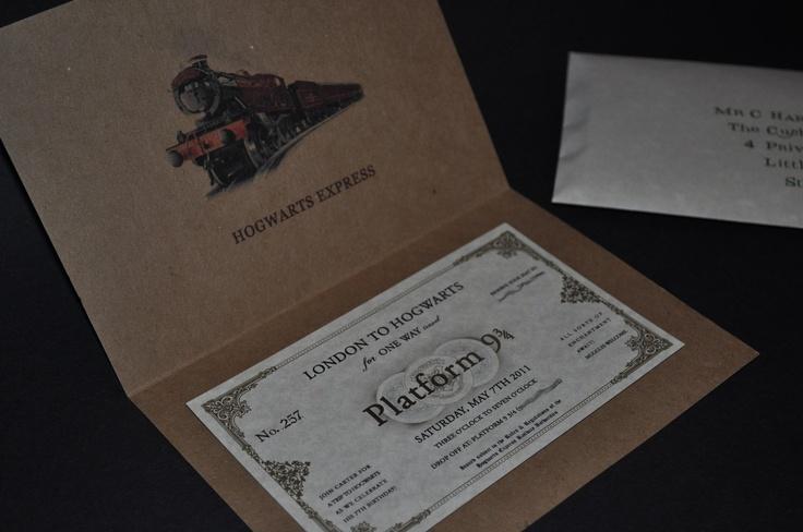 Invitation - Harry Potter Hogwarts Express Train ticket / Ticket Cover ...