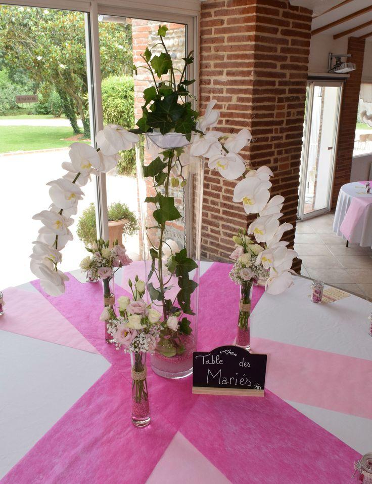 Décoration de table tout en orchidées blanches
