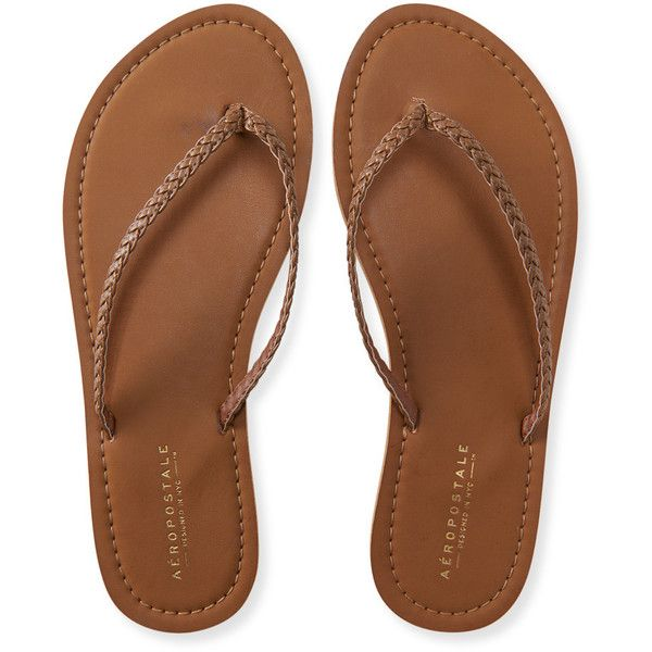 Aeropostale Braided Flip-Flop found on Polyvore featuring shoes, sandals, flip flops, flats, brown, brown braided sandals, brown sandals, woven sandals, braided sandals and woven flats