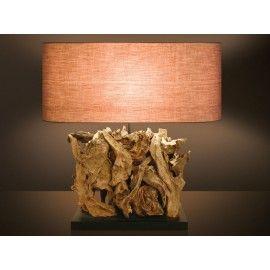 Επιτραπέζιο φωτιστικό MICHELLE από φυσικό ξύλο και ύφασμα