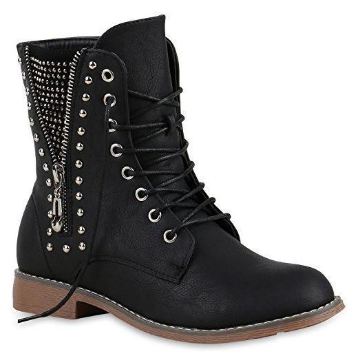 Damen Schnürstiefeletten Boots Camouflage Stiefeletten Leder-Optik Schnür Übergrößen Schuhe 125630 Schwarz Nieten 39 | Flandell® - Stiefel für frauen (*Partner-Link)