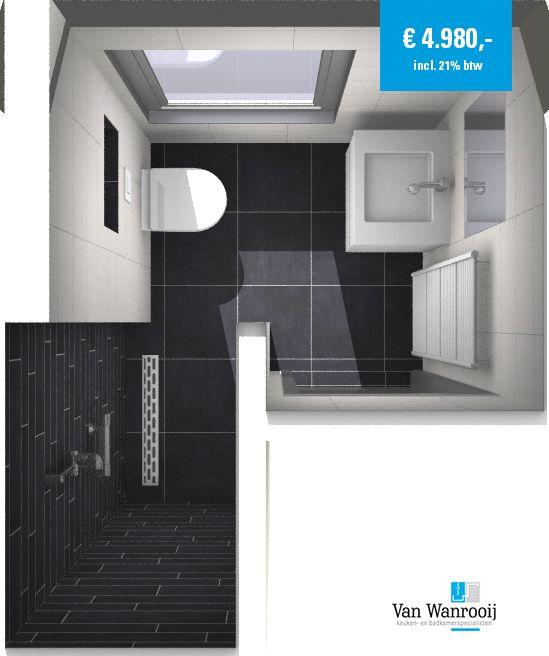 Deze kleine badkamer heeft een afmeting van 1,82 x 2,2 meter. De hoek in de ruimte is de meest logische plaats voor de douche. Hiermee hoeft de inloopdouche ook niet voorzien te worden van bijvoorbeeld een douchewand. Meer info: http://vanwanrooijtiel.nl/product/kleine-moderne-badkamer/