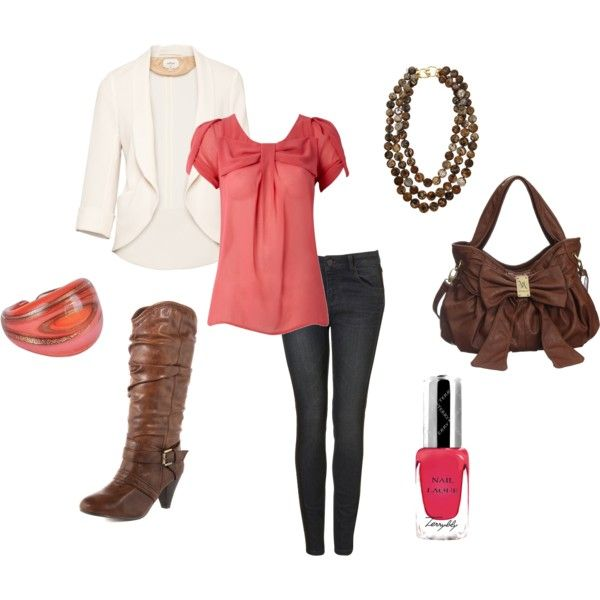 Coral & brown: Colors Combos, White Blazers, Coral Brown, Shirts, Cute Outfits, Coral And Brown Outfits, Spring Outfits, Bags, Boots