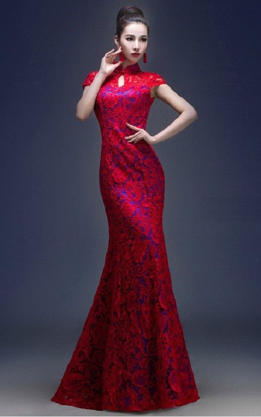 Red Wedding Dresses Lace : Red lace gown gowns dress chinese wedding dresses mermaid