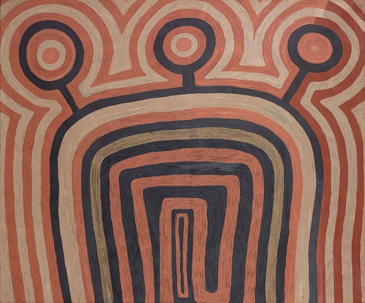 Conçue avec la National Gallery of Victoria et le Museum Victoria de Melbourne, Aux sources de la peinture aborigène rassemble deux cents oeuvres et soixante-dix objets. Autant de témoignages qui retracent également le courant Papunya Tula, créé au début des années 1970 par certains artistes et peintres australiens.  Wartunuma Dreaming (Rêve de la fourmi volante) par Ronnie Tjampitjinpa, 1991, peinture acrylique sur toile – Wartunuma est le nom d'une espèce de fourmi en Pintupi.