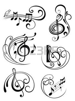 cle de sol: Notes de musique Illustration