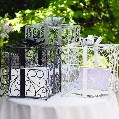 Ornate Metal Reception Card Boxes