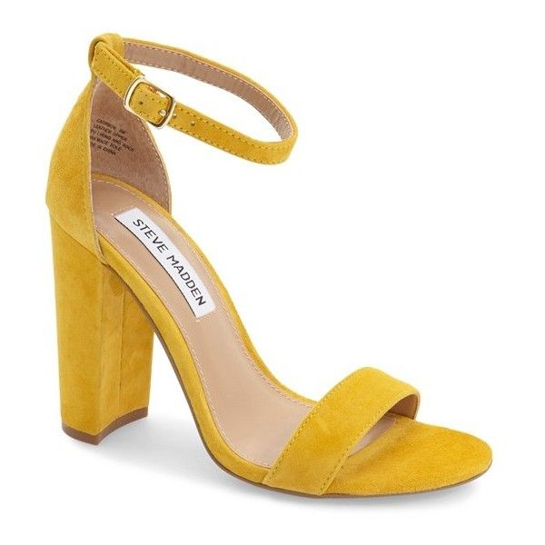 Women's Steve Madden Carrson Sandal ($90) ❤ liked on Polyvore featuring shoes, sandals, heels, tacones, yellow suede, steve madden sandals, thick heel shoes, suede sandals, ankle strap sandals and wide heel shoes