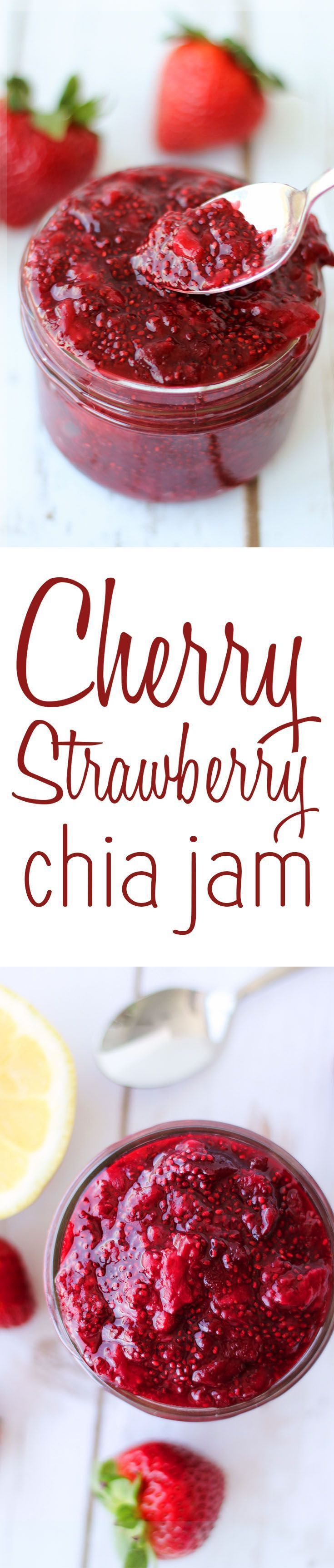 This healthy Cherry Strawberry Chia Jam will quickly become your go-to morning spread because its totally vegan, super healthy and low in added sugar!