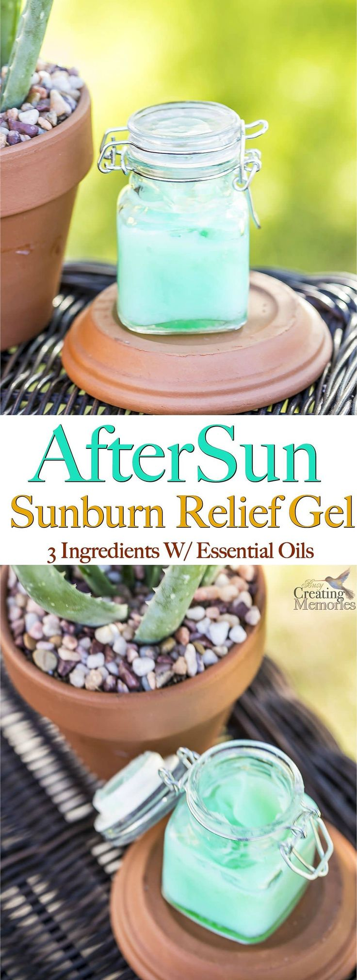 Say Goodbye to Painful, Itchy, Peeling sunburns and hello to fabulous summer skin care after the sun! This DIY AfterSun Sunburn relief Gel is the BEST as it instantly Soothes, Cools, heals and moisturizes your skin for quick healing. It is homemade with 3 natural ingredients such as Aloe Vera and essential Oils. Plus it makes great gifts! via @2creatememories