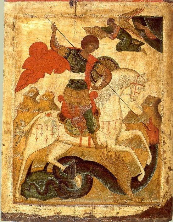 Saint George and the Dragon, Russian icon, beginning of 16th cent