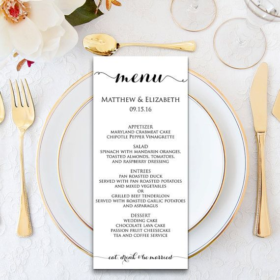 Wedding Menu Template, DIY Wedding Menu, Wedding Menu Printable - free dinner menu templates