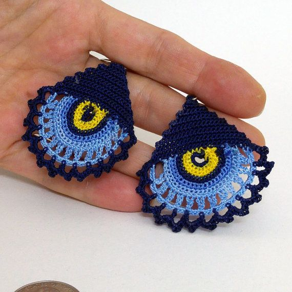 Crochet earrings - Summer earrings - Dangle earrings - Blue and dark blue - Luck…