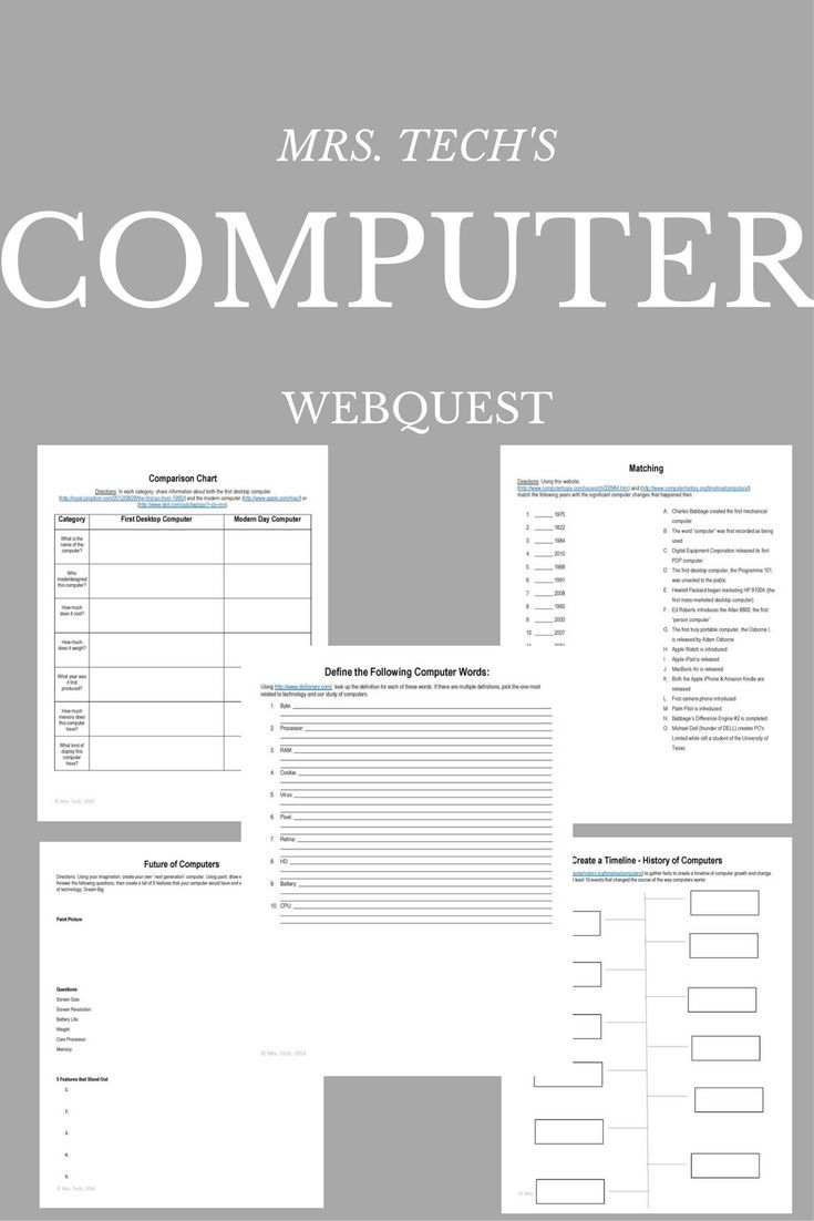 This is a 5 part webquest to help students learn more about computers and their history. 1) Create a Timeline (with template) 2) Comparison Chart (modern day computer vs. first desktop computer) 3) Matching Years & Changing Technologies 4) Define Comput