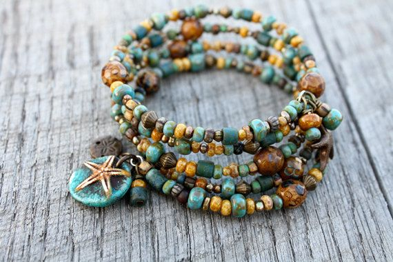 At the Beach Bracelet - Ocean Sea Jewelry Turquoise Sand Starfish Charm Brass Memory Wire