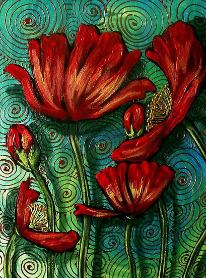"""""""Red Poppies on Green"""" © 2011 Cherie Roe Dirksen.  This is one of my paintings ~ if you like my style, please visit www.cherieroedirksen.com for more...Subscribe and receive a free gift (a little something to do with art and creative inspiration)  :)"""