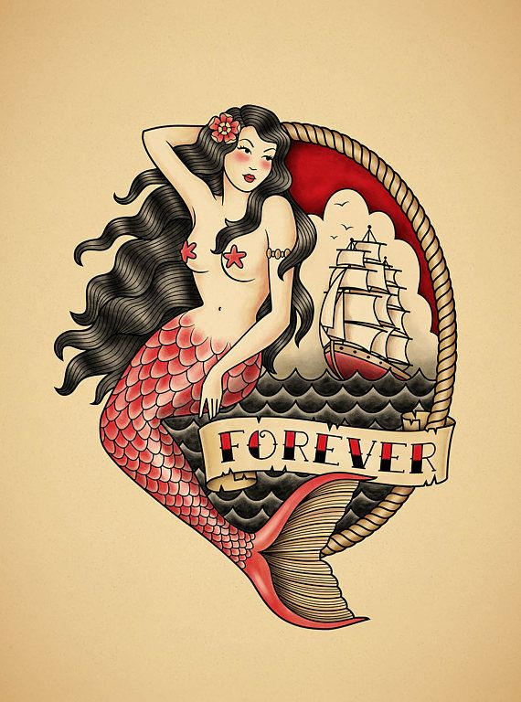 Mermaid. Old School Tattoo. Print.