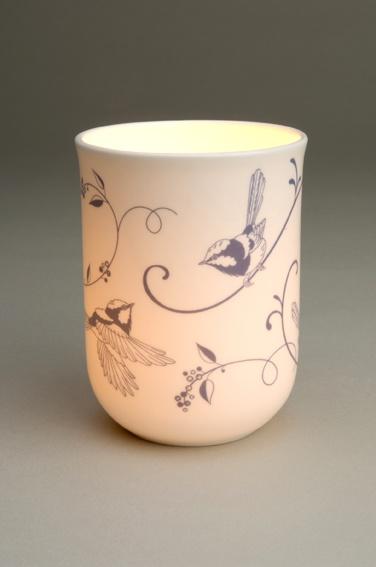Blue Wren Fine Bone Chine Candle Holder