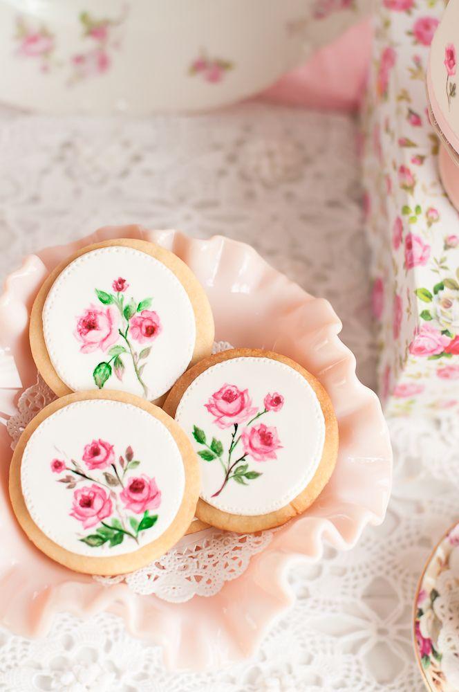 Flower cookies with tea