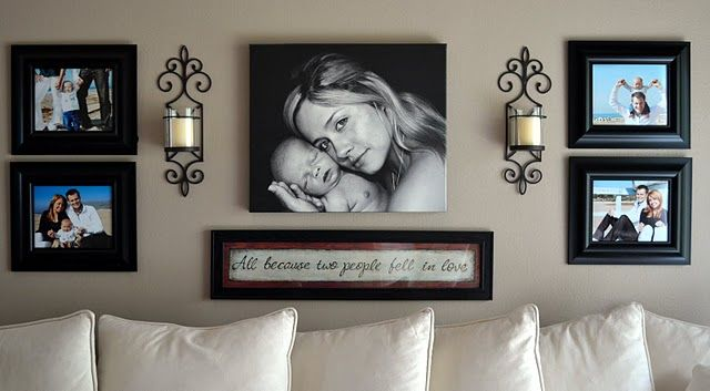 picture arrangement + sconces + quote: Families Pictures, Pictures Layout, Decor Ideas, Living Rooms, Photo Layout, Photo Arrangement, Photo Wall, Long Wall, Families Rooms